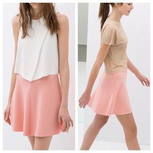 Zara 🌸 Flared High Waisted Skater Skirt in Pink